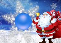 fotomontaje de navidad con papa noel y regalos